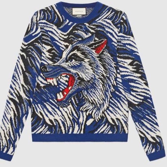 208a4e6f09b Gucci Other - Gucci Wolf Intarsia Knit Wool Sweater